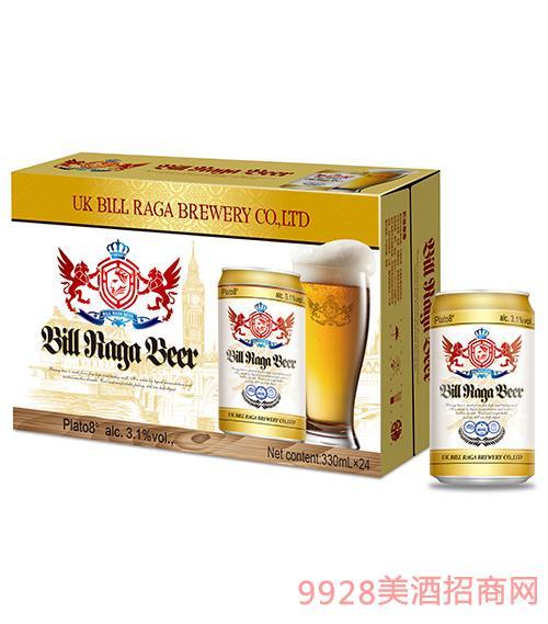 8度比尔拉格黄啤酒330ml