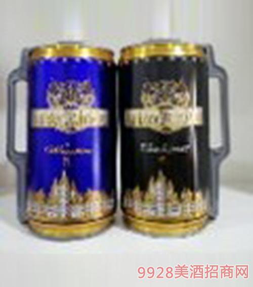凯撒金樽啤酒黑白2L