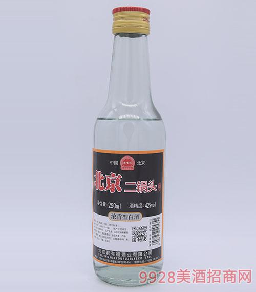 君有福北京二��^酒黑��42度250ml