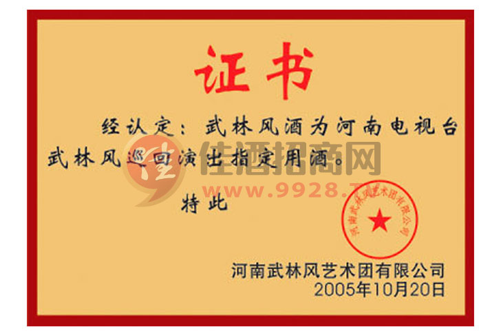 武林风荣誉证书