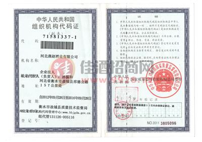 燕赵组织机构代码证