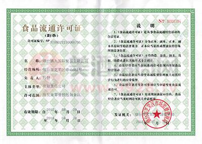 鹏九国际食品流通许可证