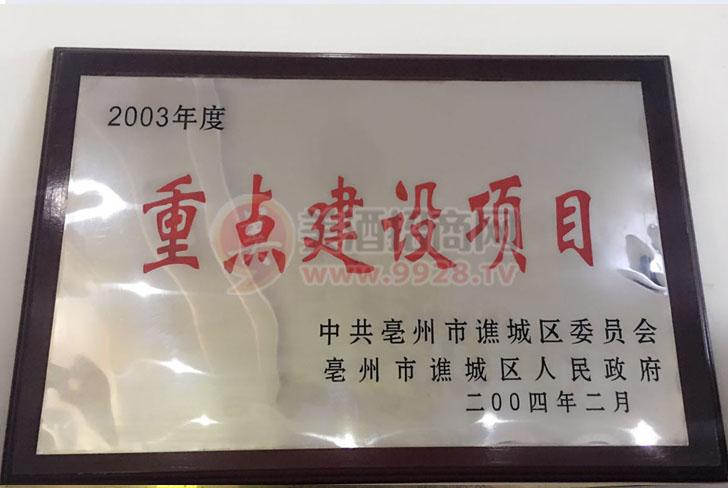 2003年度重点建设项目