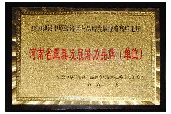 河南省最具发展潜力品牌(单位)