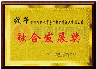 融合发展奖荣誉证书