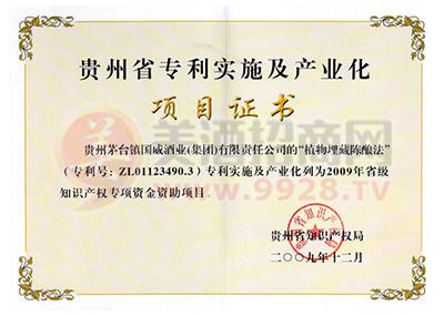贵州省专利实施及产业化项目证书