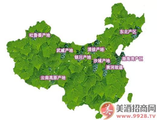 中国红酒分布地图