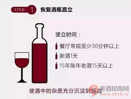 众所周知,葡萄酒是倒立储存的,在醒酒前为了要分离沉淀物,需要在开瓶前恢复葡萄酒直立,让杂质充分沉淀到瓶底。   在餐厅不方便等待过长的时间,建议直立静止至少30分钟以上后开启。在时间充裕的情况下,恢复直立时间根据新酒和陈年老酒还有所不同。   步骤2、醒酒用具准备