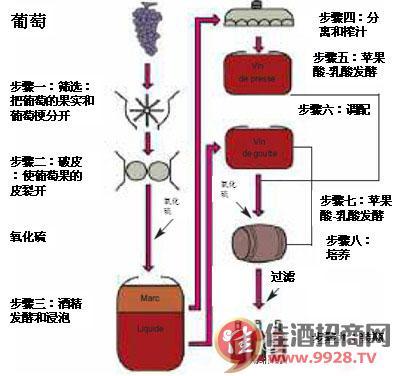 原始做法与红葡萄酒酿造过程比较类似,葡萄采摘后连皮一起压汁进入