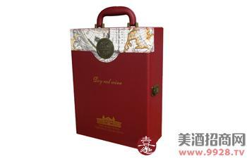 红酒双支皮盒地图纹红色