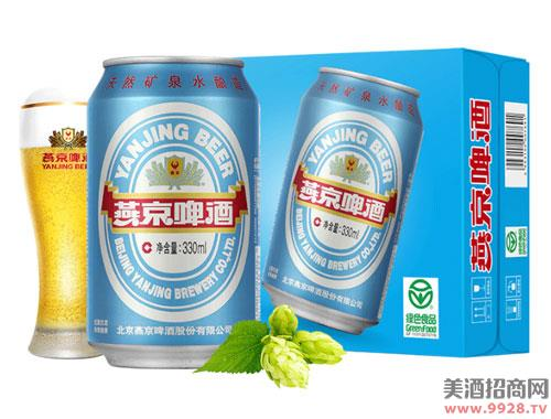 燕京啤酒11度蓝听清爽黄啤酒330mlx24听