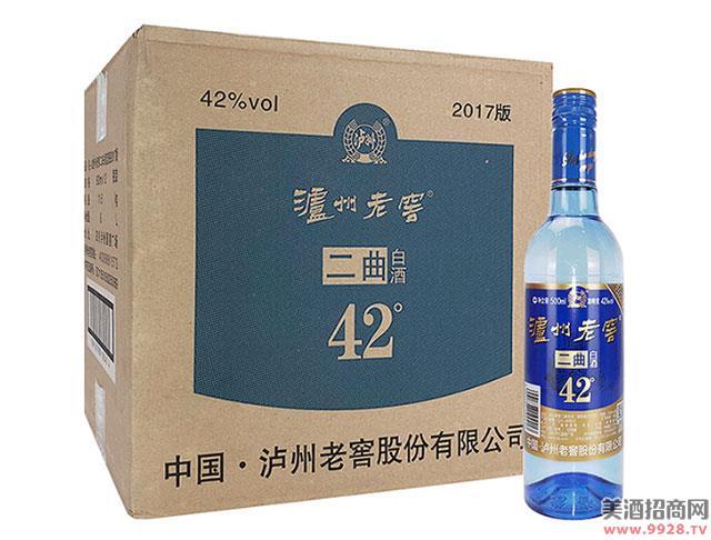 泸州老窖二曲白酒蓝瓶42度500mlx12