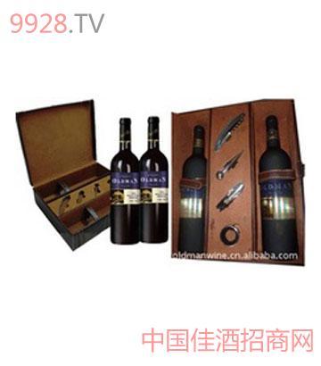 奥德曼酒庄2006双支酒具皮盒干红葡萄酒