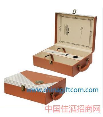 北京新款高�n棕格拼皮�p支皮盒葡萄酒