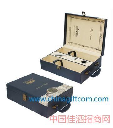 北京新款��石�{�p色皮�p只皮盒葡萄酒