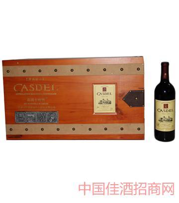 A008法式铜牌长木箱6瓶装葡萄酒