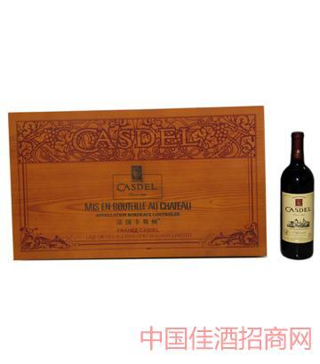 A007法式雕刻长木箱6瓶装葡萄酒