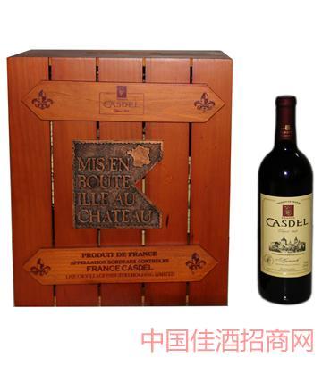 A006法式方木箱6瓶装葡萄酒