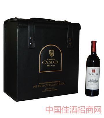 A005皮盒6瓶装葡萄酒