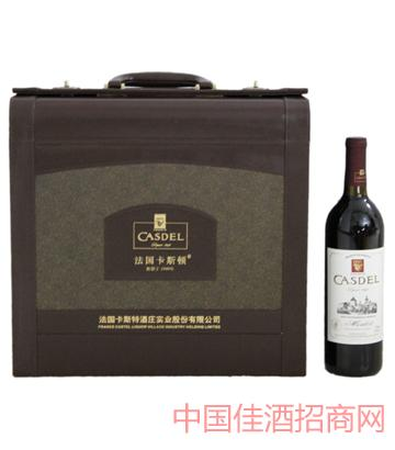 A003花纹皮箱4瓶装葡萄酒