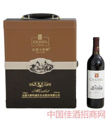 A001普通皮盒2瓶装葡萄酒