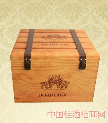 六只�b木盒葡萄酒