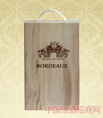 2支�b木盒葡萄酒