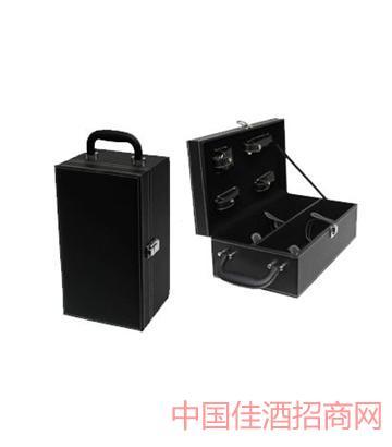 北京精�b黑色�p支皮盒葡萄酒