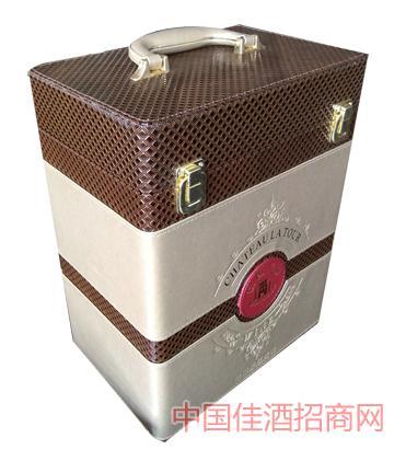 六支皮盒葡萄酒