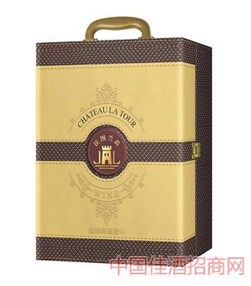 双只皮盒葡萄酒