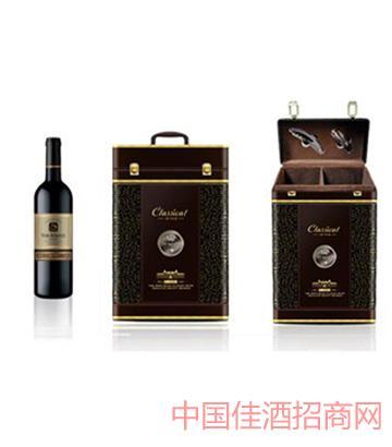 裕玛双支皮盒葡萄酒