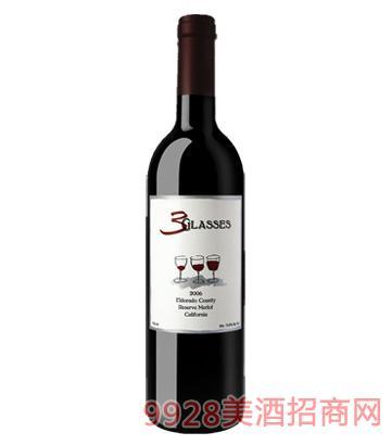 三杯珍藏版梅乐葡萄酒