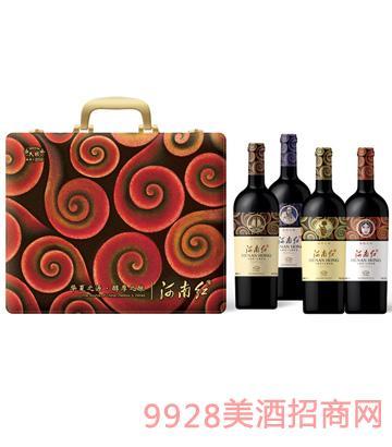河南红四支装盒葡萄酒