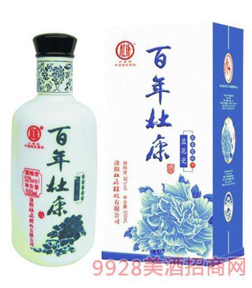 百年杜康蓝花瓷酒