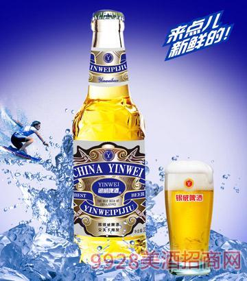 YW005-330ml银威啤酒蓝-白瓶