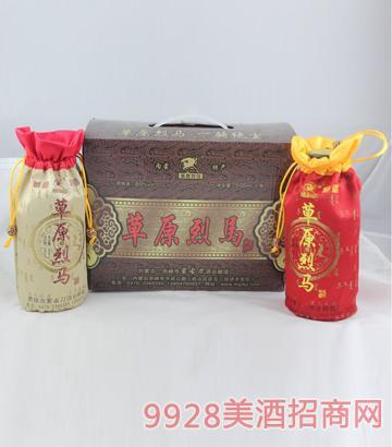 草原烈马刺绣 500ml 1x3 60度酒
