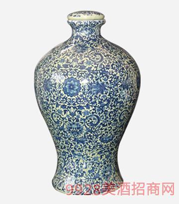 5斤青釉碎花瓶酒