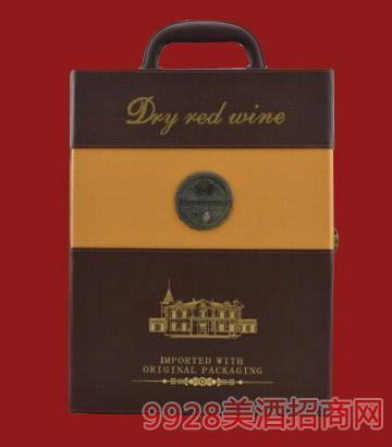 双支皮盒葡萄酒