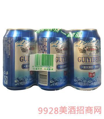 哈尔滨归一冰纯啤酒10°320ml罐装六连包