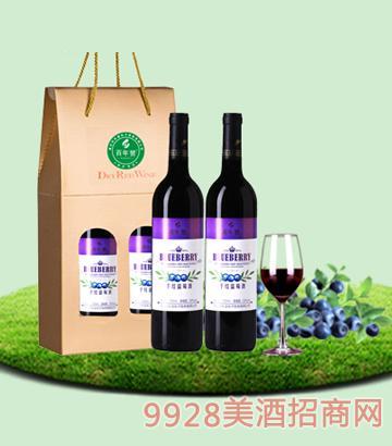 750mlx2百年誉·干红蓝莓酒10度纸盒装