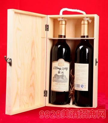 木箱两只装蒙鸿干红山葡萄酒