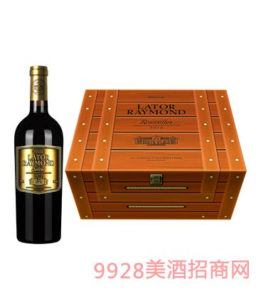 JK001拉�D雷蒙城堡・�勒六支�b木盒葡萄酒