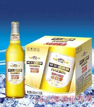 哈爾濱啤酒金麥芽500ml瓶裝