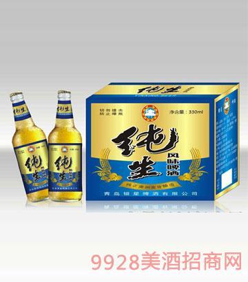 银星纯生风味啤酒330ml(黄瓶)