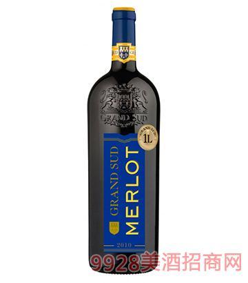 法国格兰苏美洛红葡萄酒1000ml