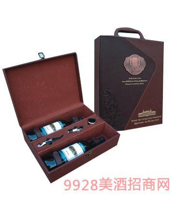 窖藏原裝橡木桶雙支干紅葡萄酒皮盒