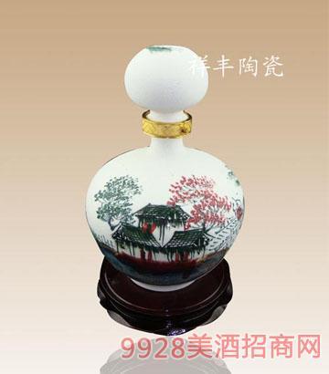 磨沙手繪陶瓷酒瓶子