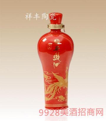西凤酒红色陶瓷酒瓶美人瓶