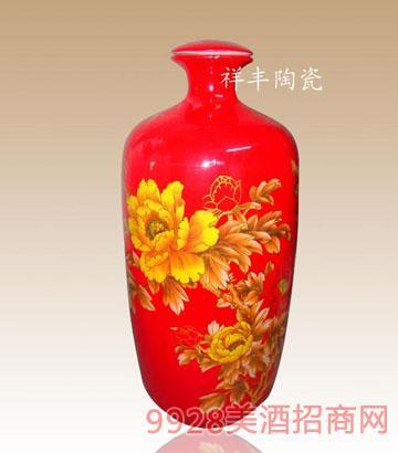 中国红5斤装艺术牡丹酒瓶子