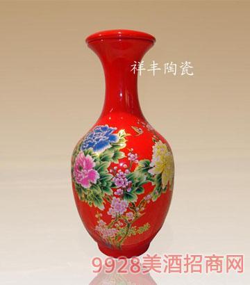 中国红牡丹4斤装观音瓶酒瓶